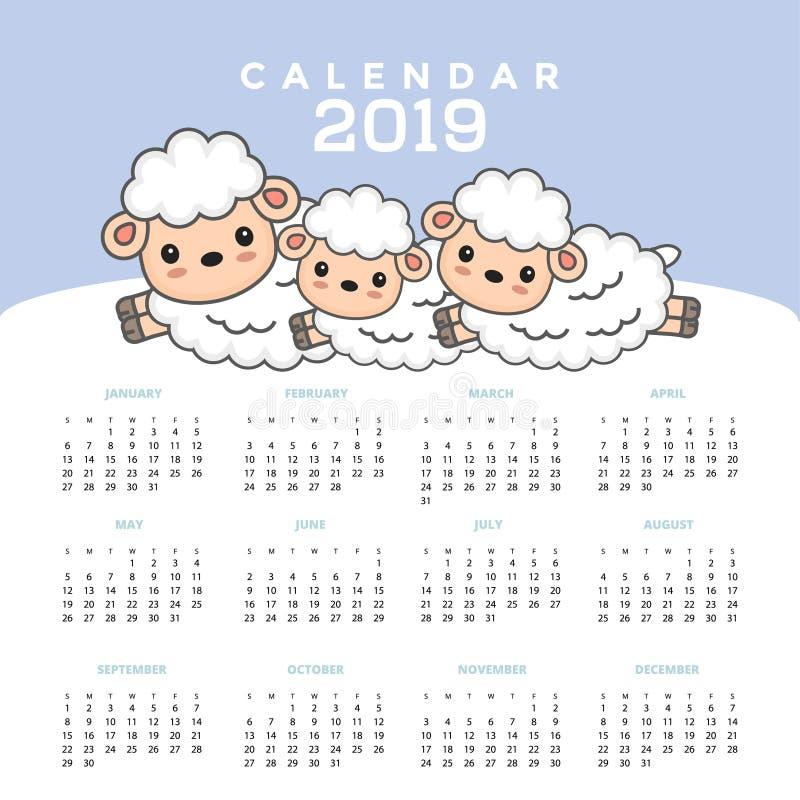 与逗人喜爱的绵羊动画片的日历2019年 向量例证