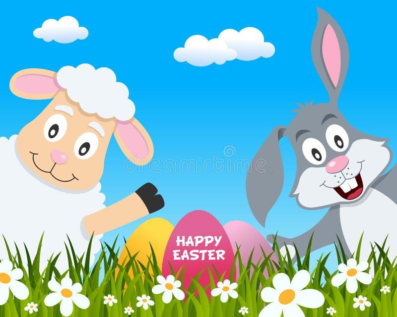 与逗人喜爱的羊羔和兔子的复活节快乐 向量例证