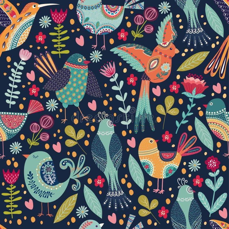 与逗人喜爱的美丽的鸟和花的传染媒介典雅的幼稚无缝的样式 在逗人喜爱的动画片样式的民间背景 向量例证