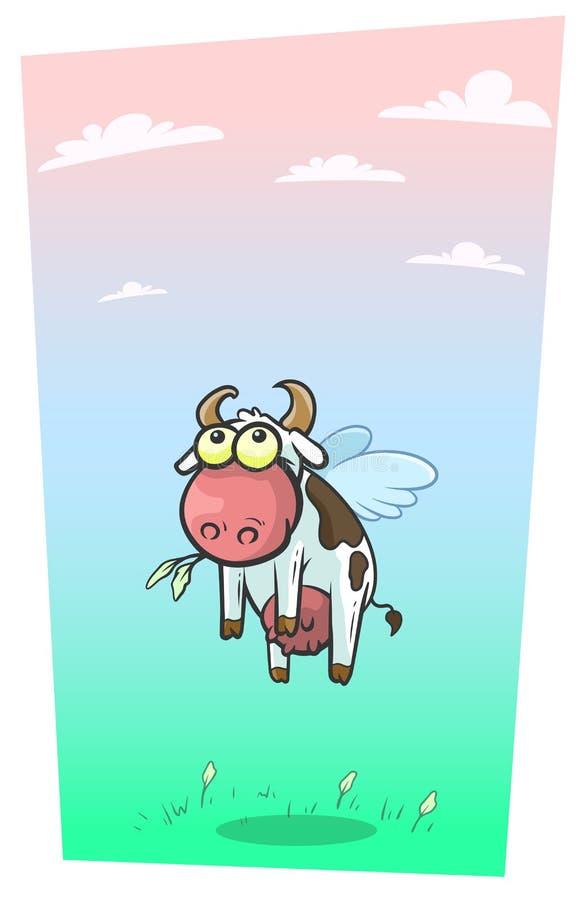 与逗人喜爱的翼传染媒介的动画片凉快的飞行母牛 库存例证