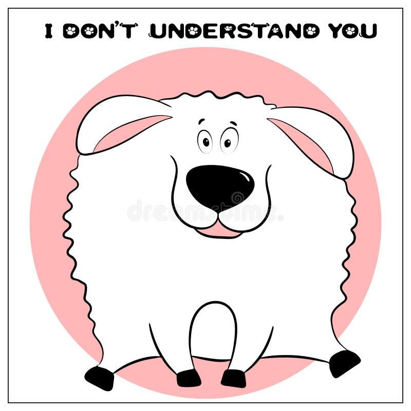 与逗人喜爱的肥胖动画片绵羊和词组的滑稽的传染媒介贺卡 乐趣设计的概念衣物和内部的 ?? 向量例证