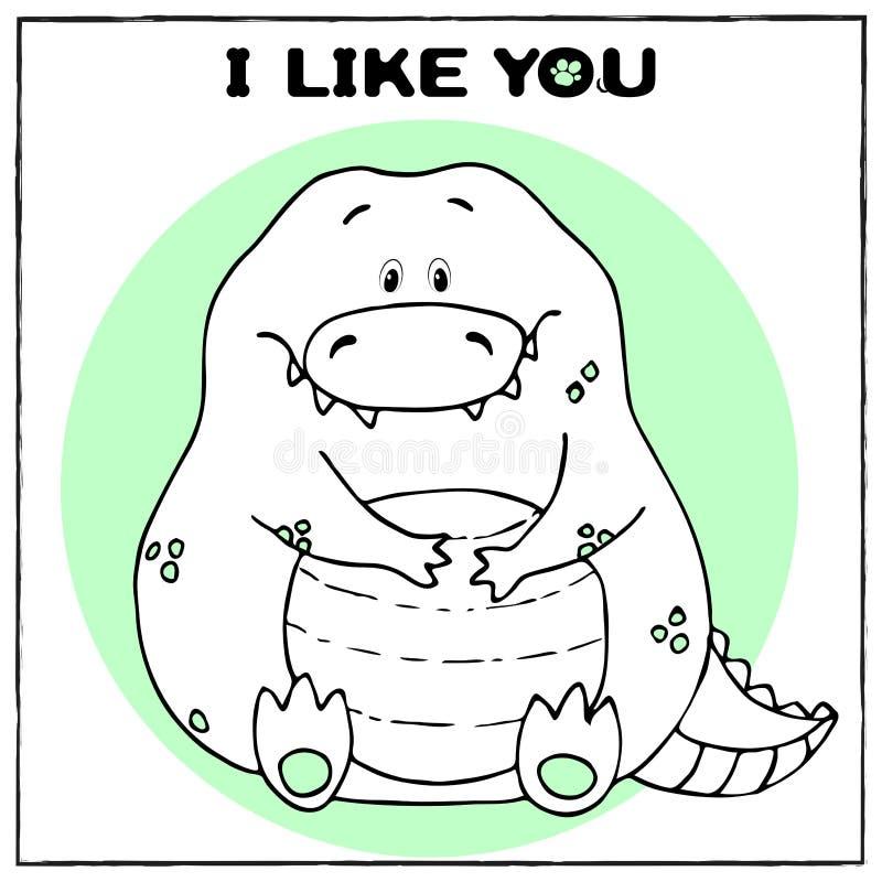 与逗人喜爱的肥胖动画片鳄鱼和词组的滑稽的传染媒介贺卡 乐趣设计的概念衣物和内部的 ?? 向量例证