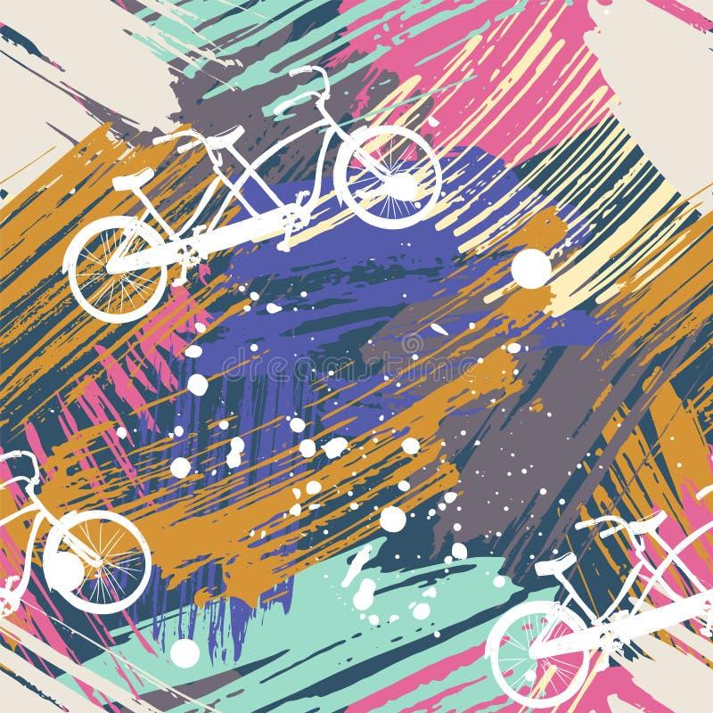 与逗人喜爱的自行车的无缝的样式纵排在抽象水彩弄脏,画笔徒手画的冲程 向量例证