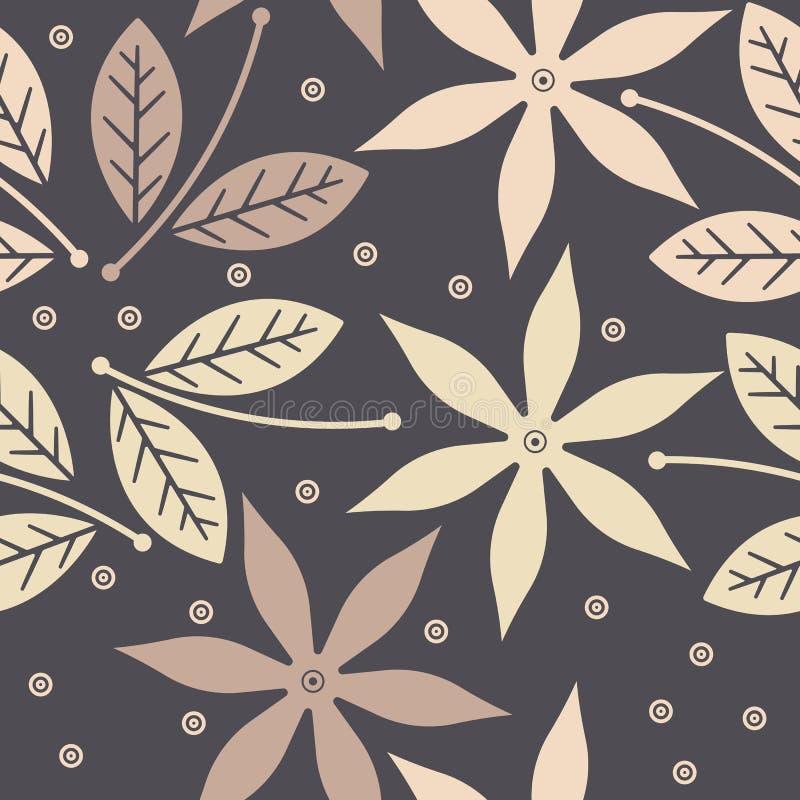 与逗人喜爱的花、叶子和装饰elemen的无缝的样式 皇族释放例证