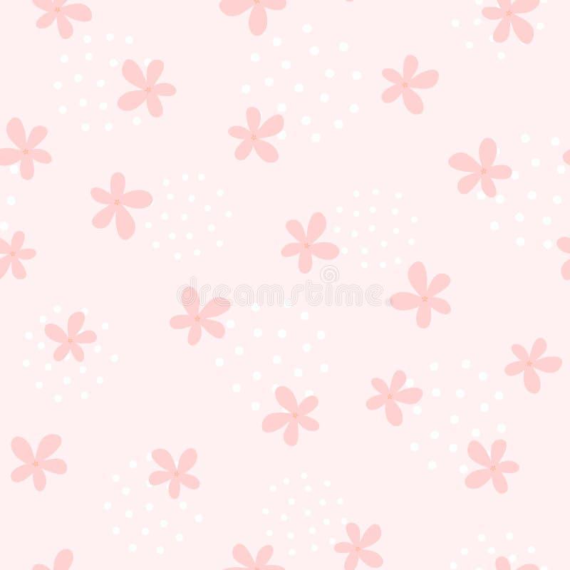 与逗人喜爱的花的少女无缝的样式 不尽的娘儿们印刷品 库存例证