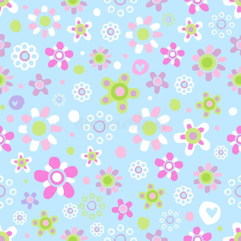 与逗人喜爱的花的无缝的样式 库存例证