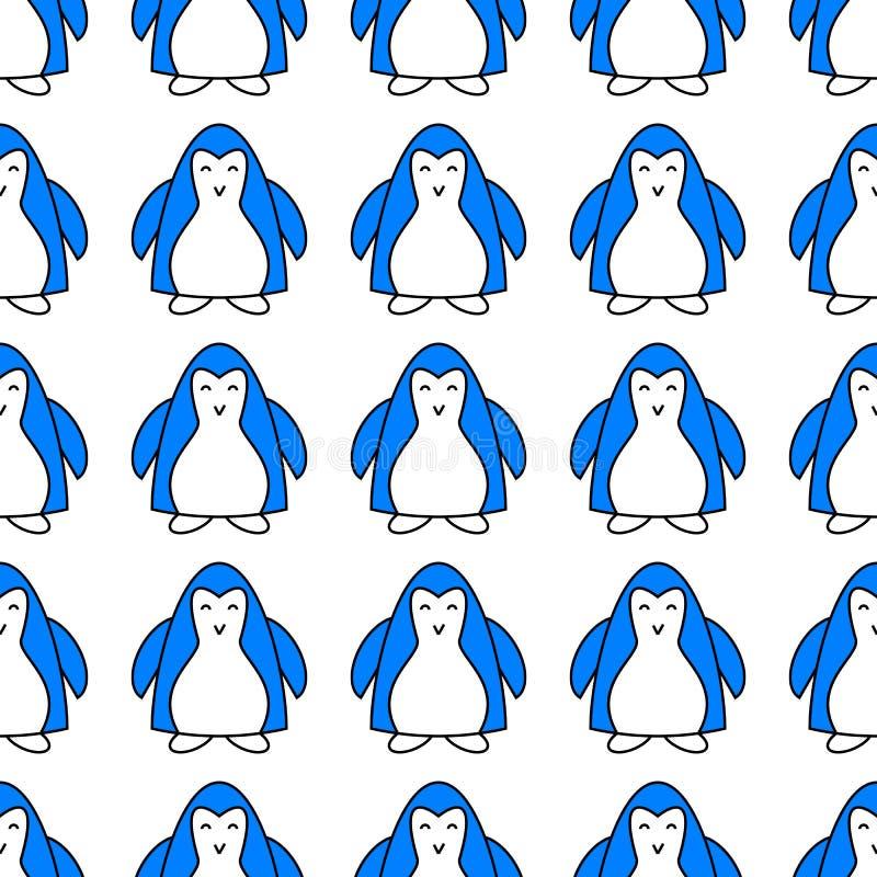 与逗人喜爱的蓝色企鹅动物的无缝的样式 与滑稽的极性冬天鸟的不尽的纹理 墙纸设计与 皇族释放例证