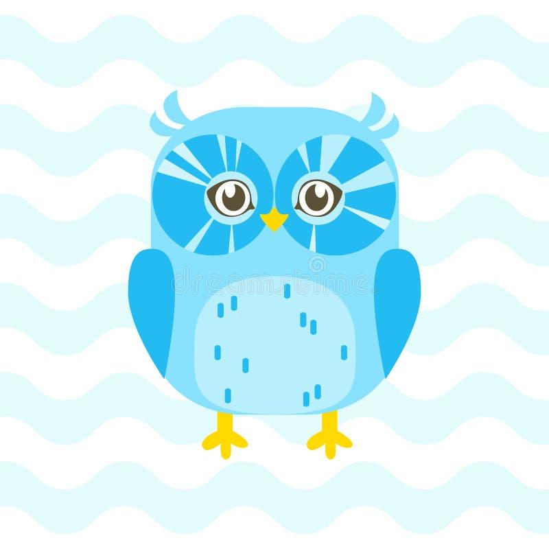与逗人喜爱的蓝色婴儿猫头鹰的婴儿送礼会例证在蓝色backgro 皇族释放例证