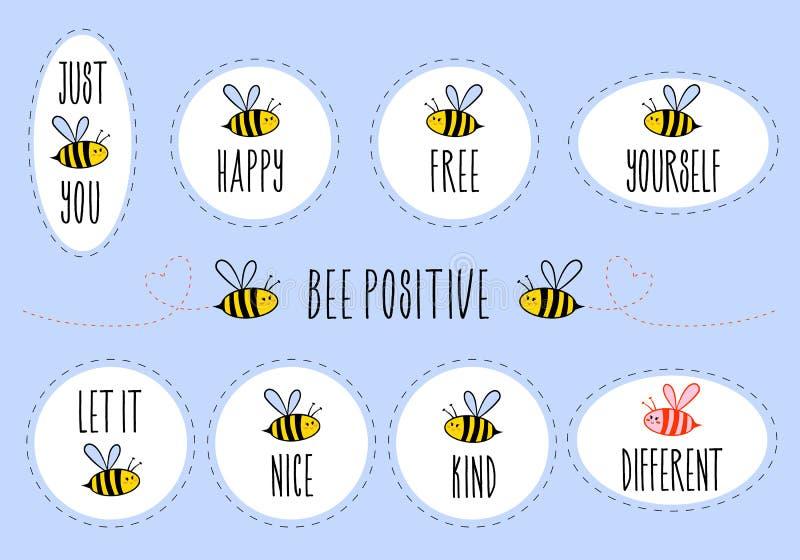 与逗人喜爱的蜂,传染媒介贴纸集合的诱导行情 库存例证
