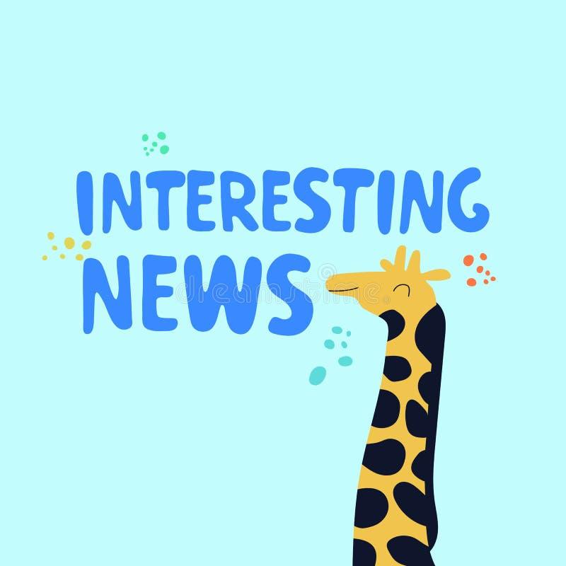 与逗人喜爱的长颈鹿的有趣的新闻概念 皇族释放例证