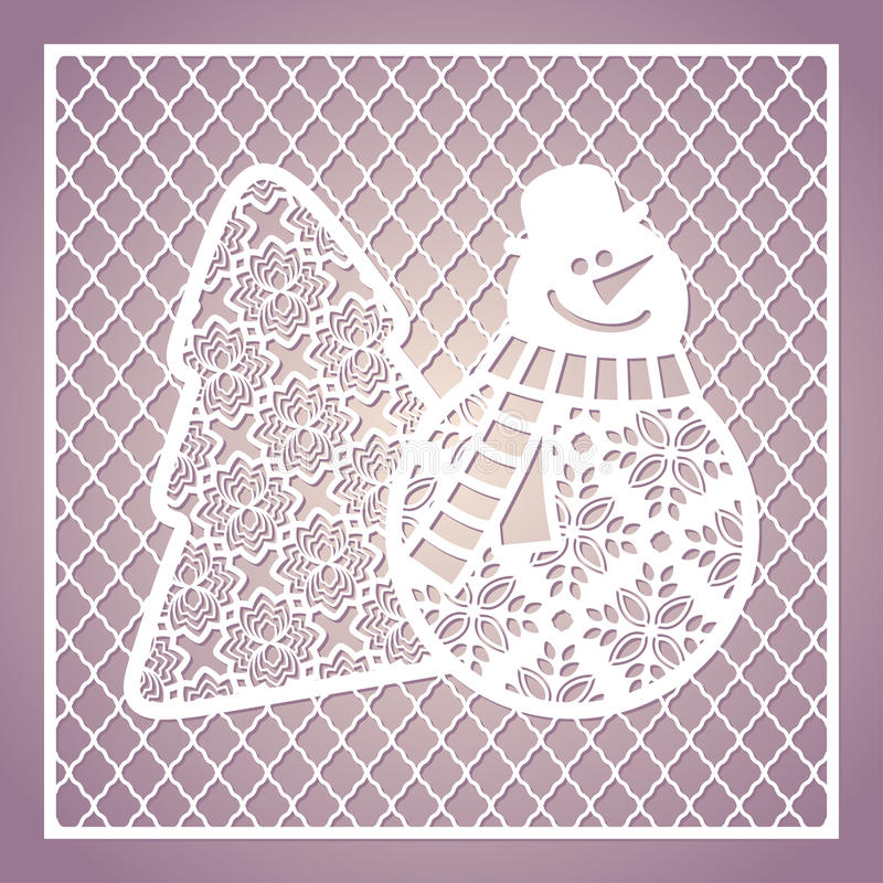 与逗人喜爱的雪人和圣诞树的透雕细工方形的卡片 激光 向量例证