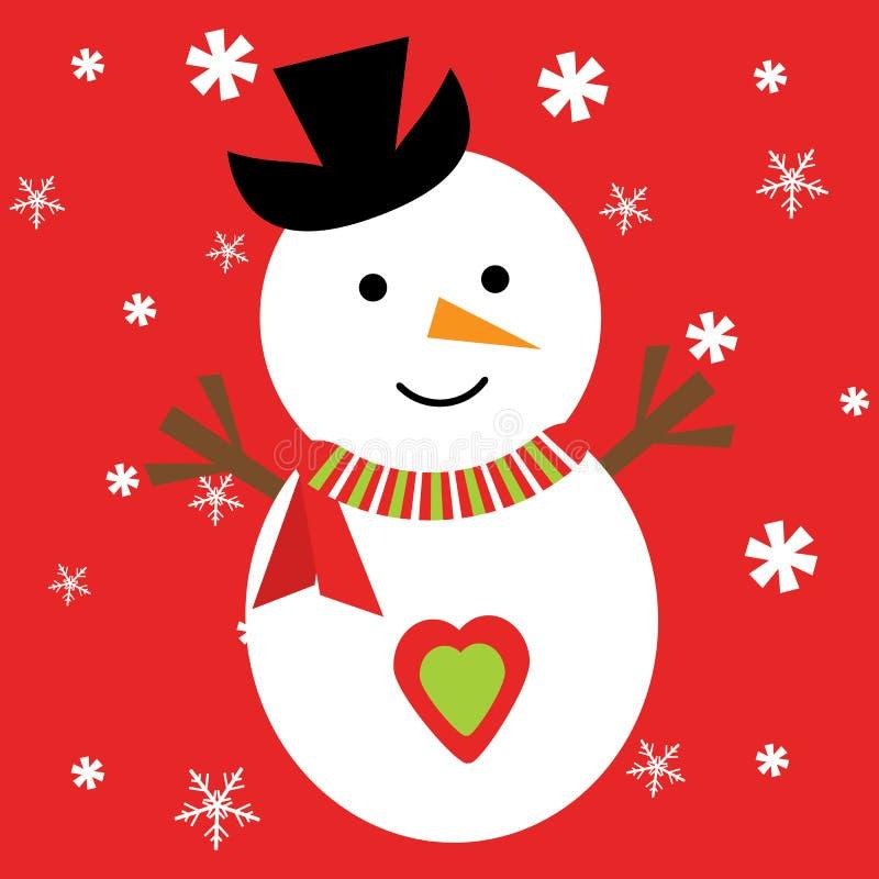 与逗人喜爱的雪人的圣诞节例证在雪花红色背景 向量例证