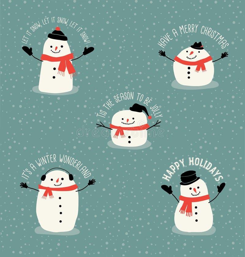 与逗人喜爱的雪人的圣诞节问候 库存例证