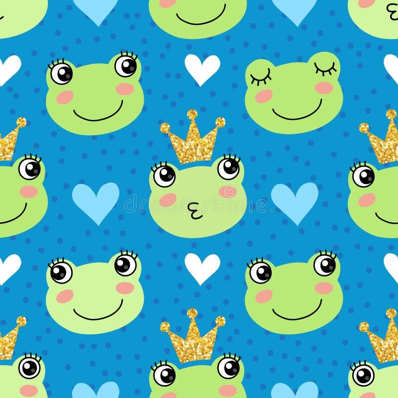 与逗人喜爱的青蛙和冠的无缝的样式 库存例证