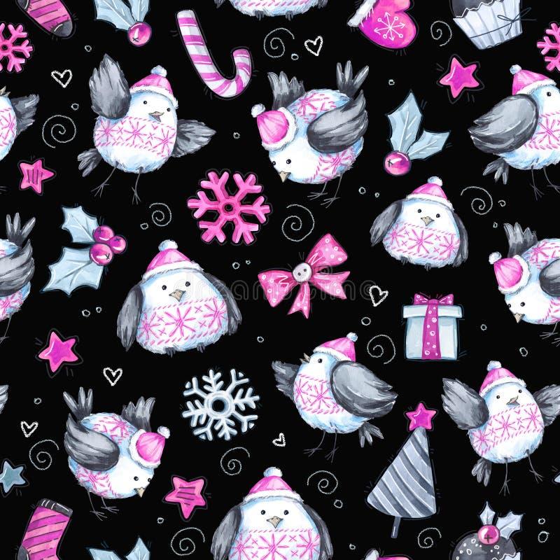 与逗人喜爱的飞鸟的水彩无缝的问候样式 新年度 多孔黏土可用的庆祝文件例证以图例解释者 快活的圣诞节 向量例证