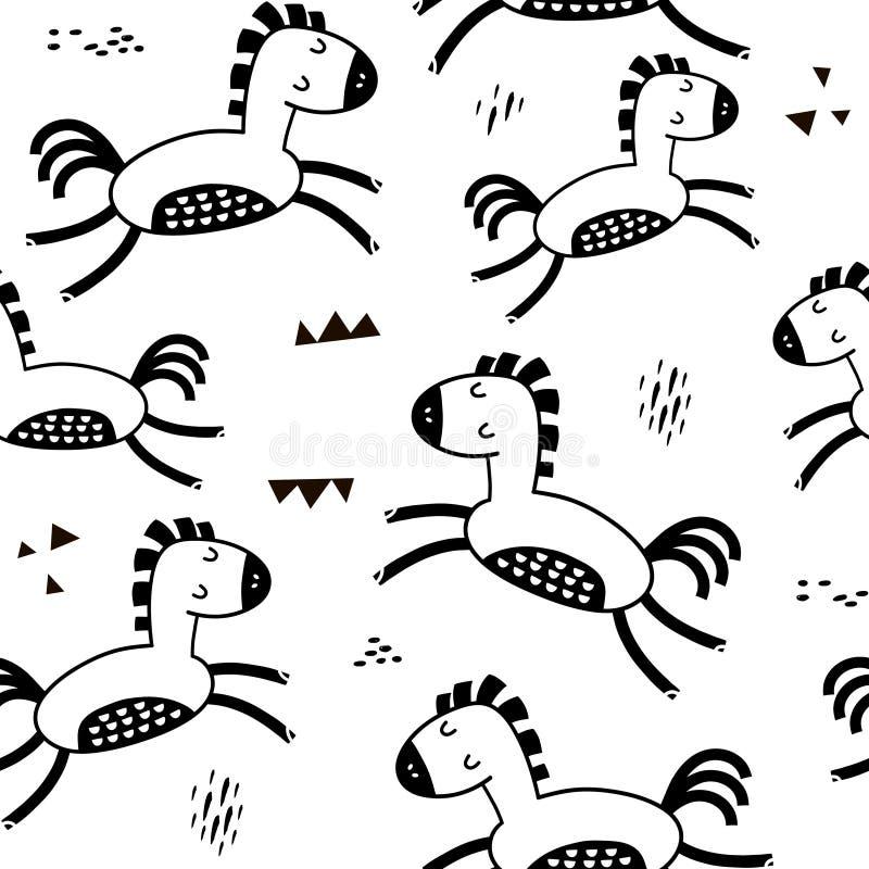 与逗人喜爱的马和手拉的纹理的无缝的幼稚样式 织品的创造性的黑白孩子纹理,包裹, 向量例证