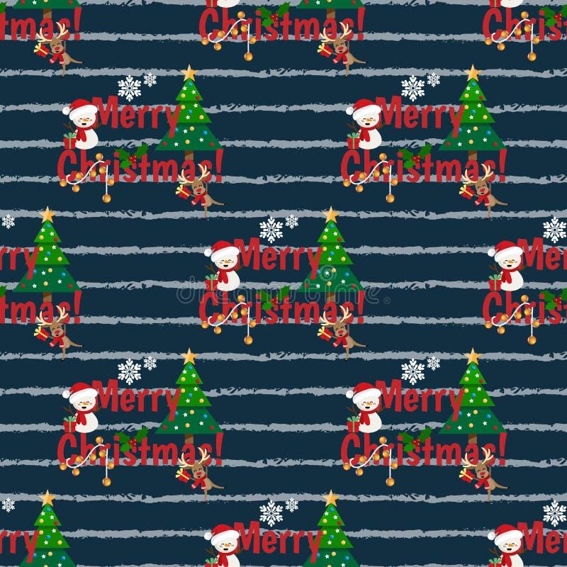 与逗人喜爱的驯鹿和雪人在冬天风俗,雪花,圣诞树的圣诞节节日无缝的样式 库存例证