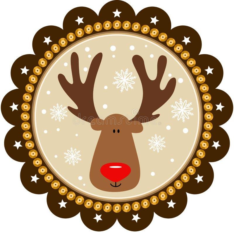 与逗人喜爱的驯鹿的被环绕的圣诞节标记 库存例证