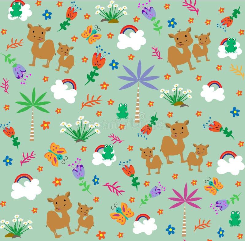 与逗人喜爱的骆驼和小的froggi的样式 动画片样式 也corel凹道例证向量 皇族释放例证