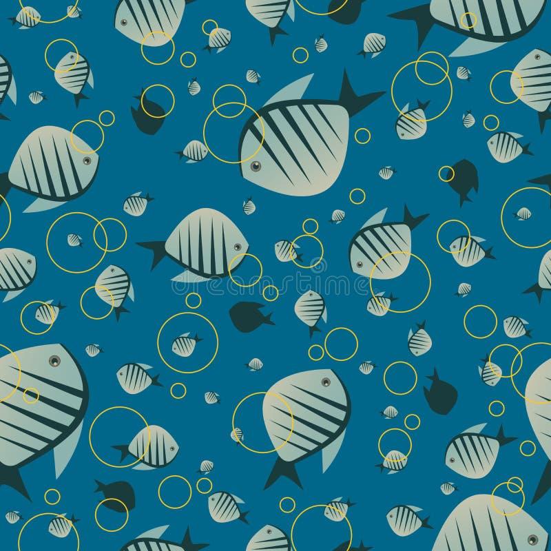 与逗人喜爱的鱼的样式在蓝色颜色 皇族释放例证