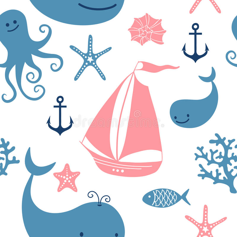 与逗人喜爱的鲸鱼的无缝的样式,航行 向量例证