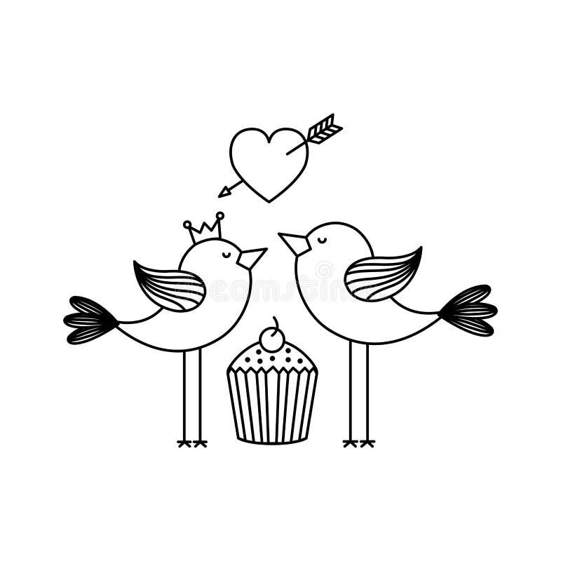 与逗人喜爱的鸟夫妇和杯形蛋糕的爱卡片 皇族释放例证