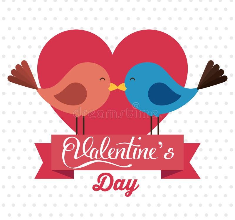 与逗人喜爱的鸟夫妇的愉快的华伦泰卡片在爱 向量例证