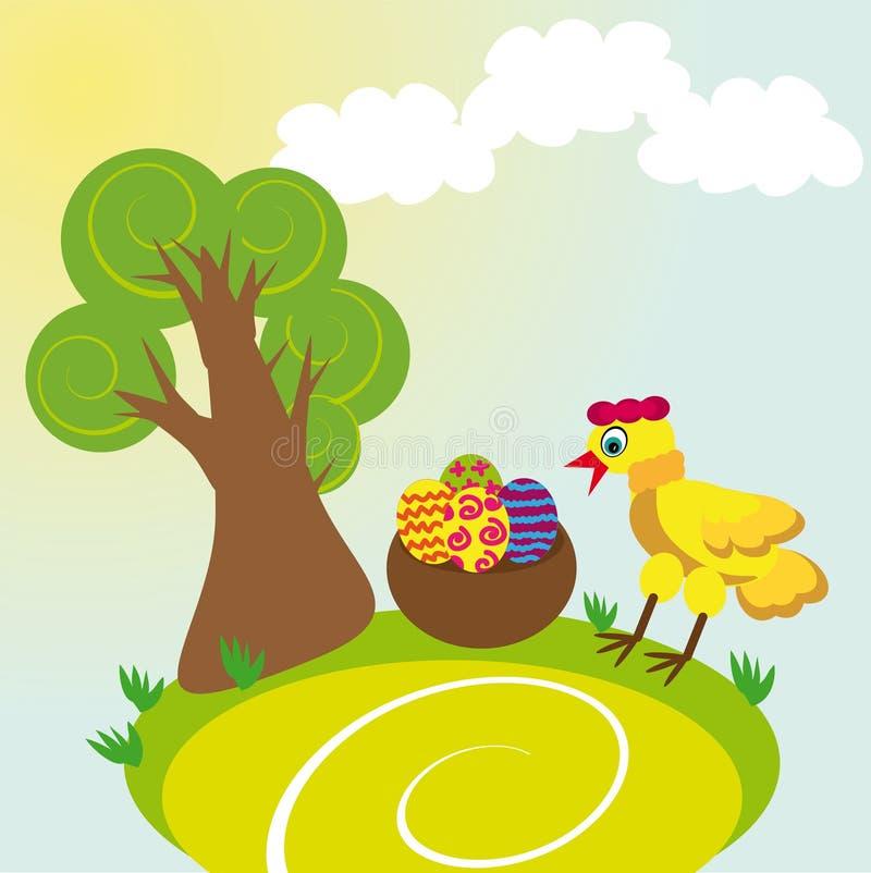 树、鸡和鸡蛋 库存图片