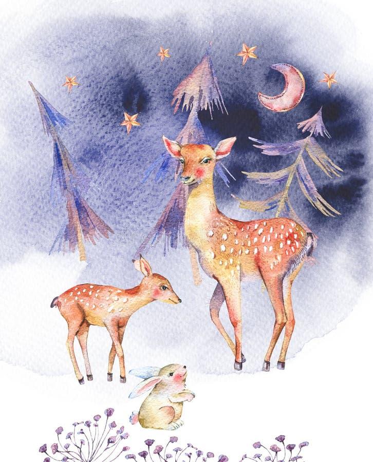 与逗人喜爱的鹿和小鹿的水彩卡片 库存例证