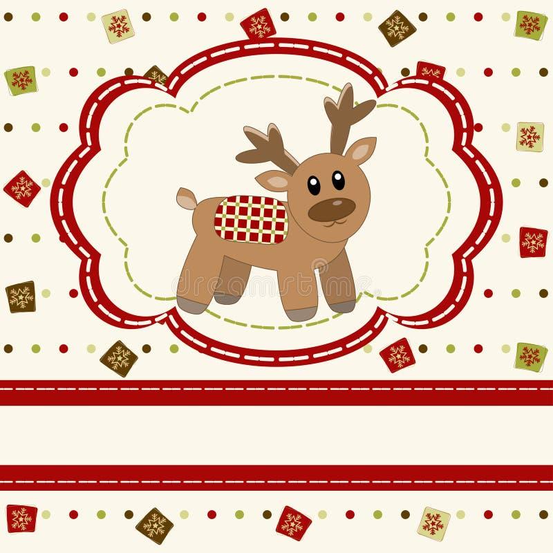 与逗人喜爱的鹿的圣诞节和新年好看板卡 向量例证