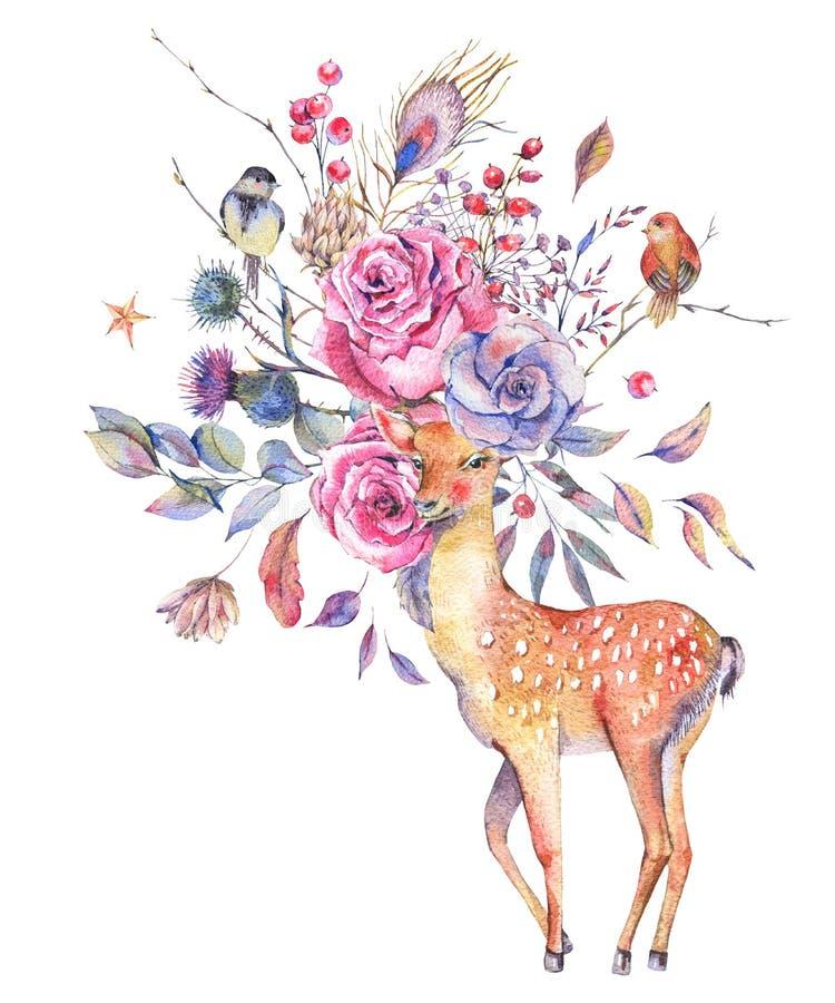 与逗人喜爱的鹿的水彩花卉贺卡 向量例证