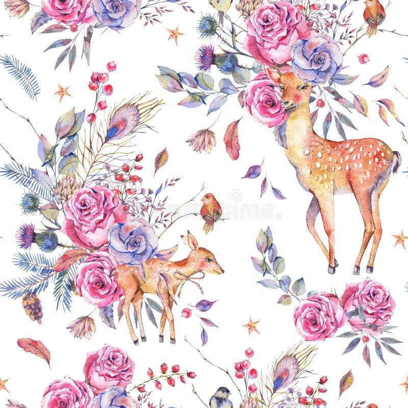 与逗人喜爱的鹿的水彩花卉semless样式 库存例证
