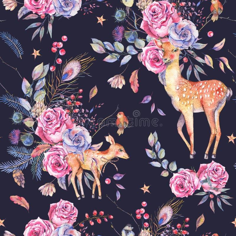与逗人喜爱的鹿的水彩花卉semless样式 向量例证