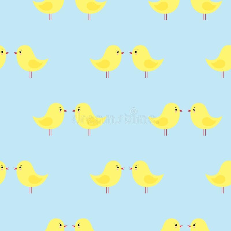 与逗人喜爱的黄色复活节鸡的传染媒介无缝的样式在蓝色背景 Kawaii 皇族释放例证