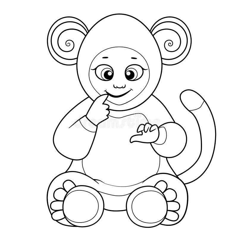 与逗人喜爱的婴孩的彩图穿戴了象猴子 向量例证