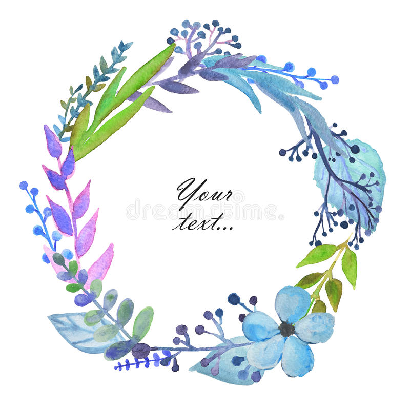 与逗人喜爱的水彩的框架分支,叶子和花在白色背景 问候,邀请卡片,笔记本盖子  皇族释放例证