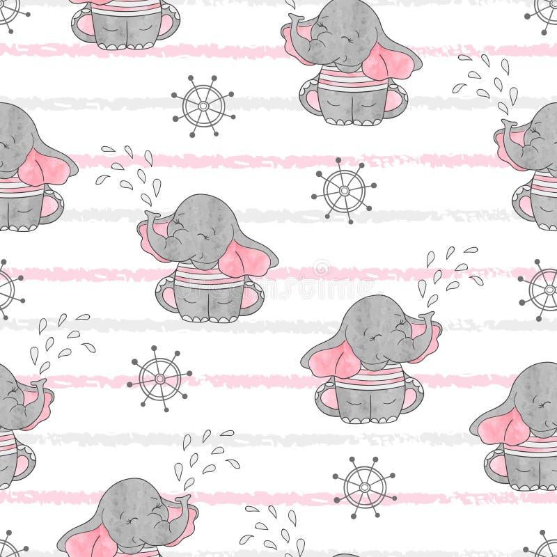 与逗人喜爱的水手大象的无缝的样式 向量例证