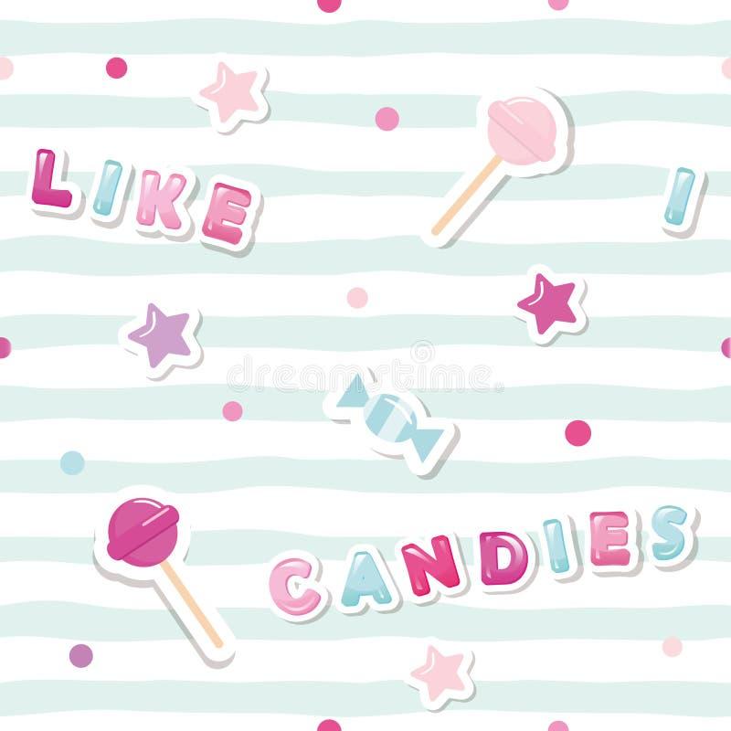 与逗人喜爱的贴纸的欢乐无缝的样式在镶边背景 我喜欢糖果 对女孩衣裳,生日和 向量例证