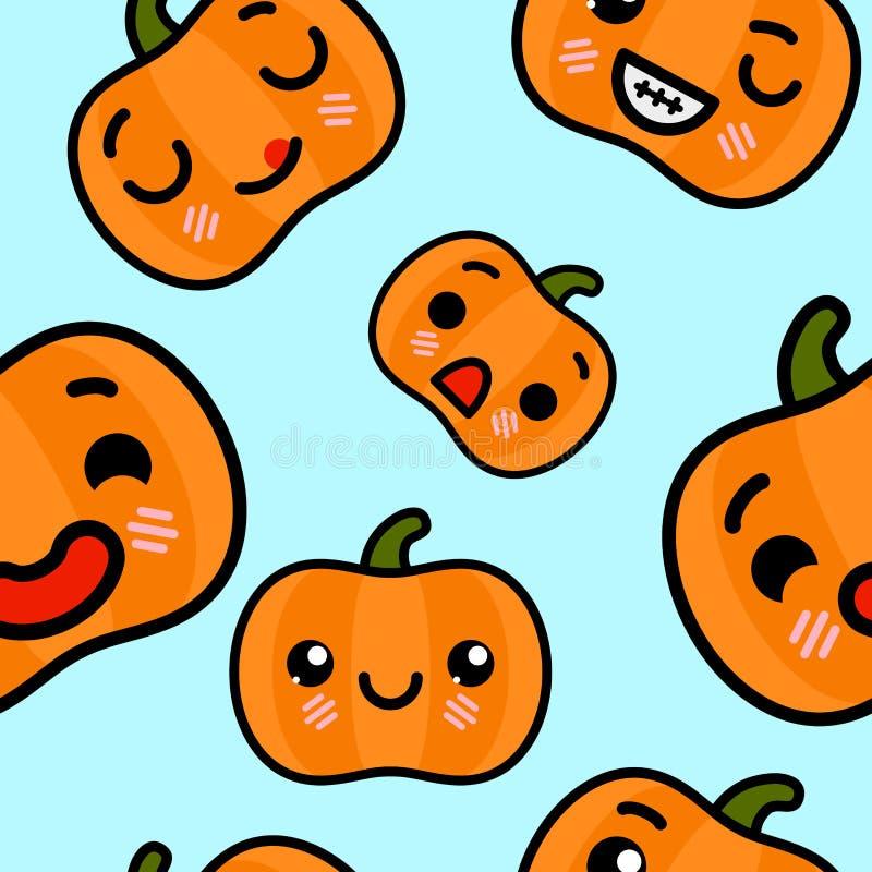与逗人喜爱的kawaii emoji万圣节南瓜传染媒介动画片例证的无缝的样式 向量例证