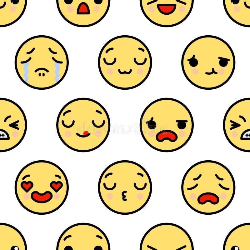 与逗人喜爱的kawaii emoji的无缝的样式面对传染媒介动画片例证 向量例证