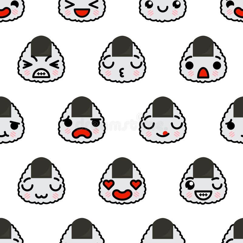 与逗人喜爱的kawaii emoji onigiri传染媒介动画片例证的无缝的样式 向量例证