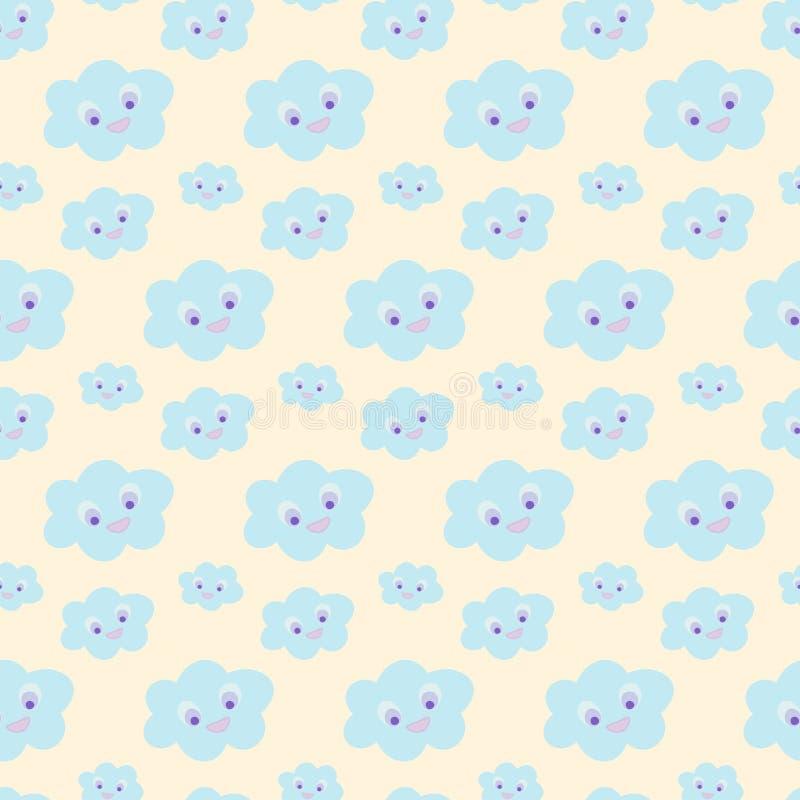 与逗人喜爱蓝色微笑的无缝的婴孩样式在淡色黄色背景,例证, eps 10覆盖 Kawaii微笑的云彩 皇族释放例证