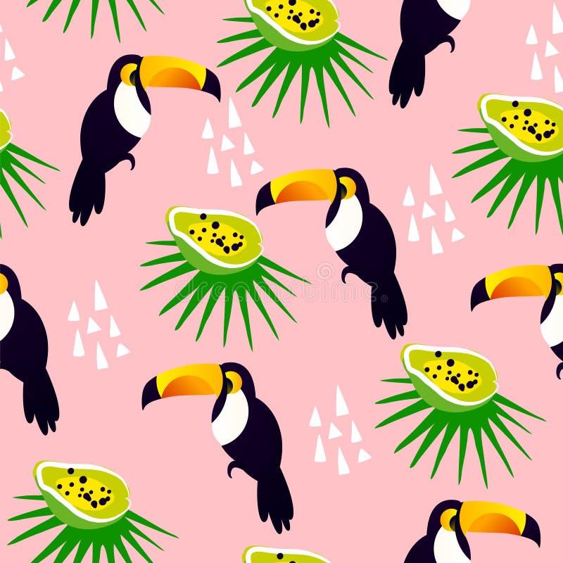 与逗人喜爱toucan,番木瓜和棕榈叶的抽象夏天样式在桃红色背景 皇族释放例证