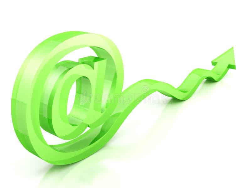 与通知箭头的绿色发光的电子邮件符号 向量例证
