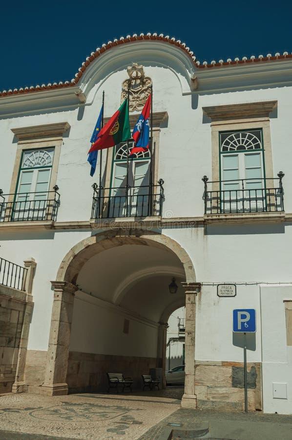 与通道的政府大厦大厦在曲拱和旗子下 免版税库存照片