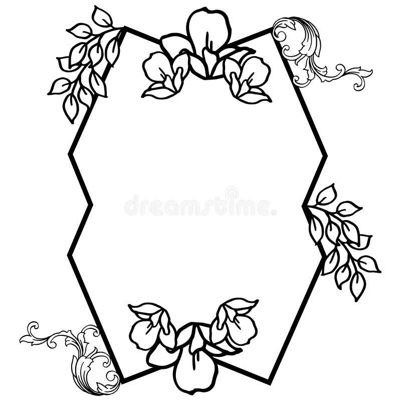 与速写的模板设计为叶子花卉框架 ?? 向量例证