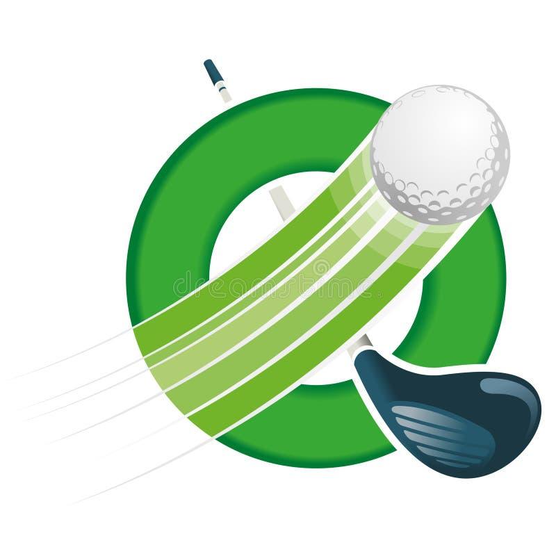 与速度线的高尔夫球飞行在与在白色背景横渡的对角地高尔夫俱乐部的一个绿色圆箍 向量例证