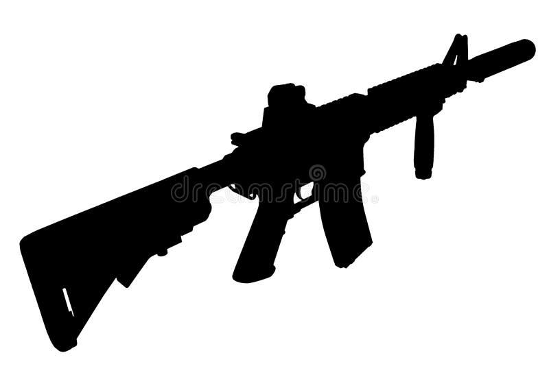 与遏抑器-特种部队步枪剪影的M4 向量例证