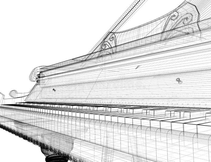 与道路的古色古香的大平台钢琴 库存例证