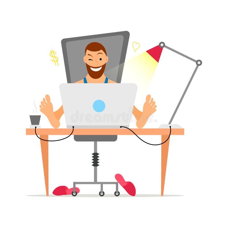 与遥远地工作从他的书桌的胡子自由职业者的男性 在舱内甲板和动画片样式的自由职业者的概念 向量例证